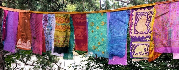 Glitzy Gypsy Celebration Flag Garland Hippie Prayer Flags Garden Flags 3 to 8 feet long