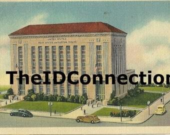 Galveston Postcard, Vintage Galveston Postcard, US Customs House and United States Post Office, 25th Street