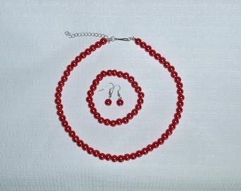 Red Pearl  Necklace , Bracelet , Earrings set. Handmade Jewelry.glass pearls , Valentine/Birthday/Friendship  Jewelry Jewelry Gift set