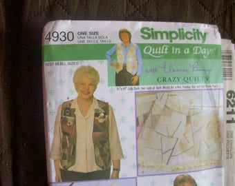 Simplicity 4930 Quilt in a Day vest, crib quilt, evening bag and cell phone case sewing pattern