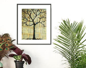 Dictionary Art Print, Tree and Bird, Mixed Media Collage Art, Tree of Life, Signed Fine Art Print Dictionary Page | Various Sizes
