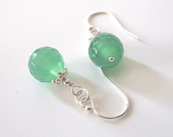 Mint Green Glass Bead Earrings, Sterling Silver, Faceted Honeycomb Glass, One of a Kind
