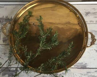 Vintage Brass Tray Hollywood Regency Decor-  Floral Handle Pierced Edge