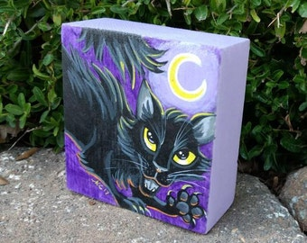 Halloween Decor/Halloween Cat/Cat Art/Black Cat/Art For Kids/Animal Art/Holiday Decor