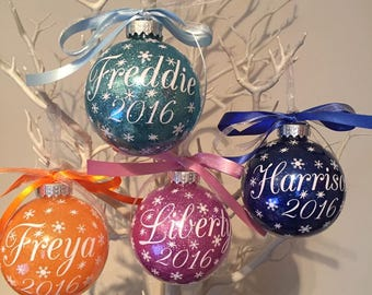 4 x Personalised Christmas Baubles
