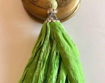 Sari Silk Tassel Necklace-Lime Green Tassel-Boho Tassel Jewelry