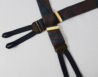Trafalgar Mens Silk Suspenders- Button On Braces - Muted Blue Red Paisley- Brown Leather Crocodile Accents- Adjustable Gold Metal Clinchers-