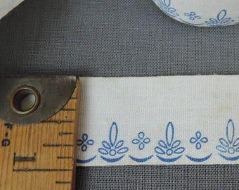 5 Yards Antique Printed Cotton Ribbon Trim, 1 inch wide, 1900s Edwardian Vintage Blue Floral