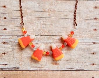 Candy corn necklace - halloween necklace - halloween jewelry - Swarovski crystal