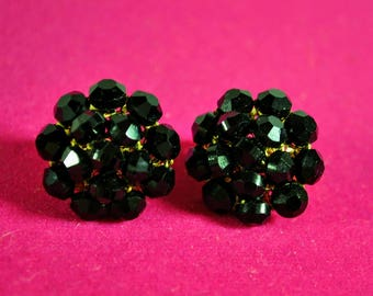 Vintage Black Vogue Glass Beads Cluster Earrings Clip Ons