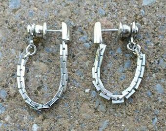 Vintage Trifari Pierced Articulated Hoop Earrings