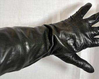 Black Leather Kid Gloves - Size 7-1/2