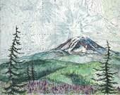 Mt Adams Summer, Mount Adams art painting print Mountain illustration, Washington mountain print, wilderness mountain art topo map art