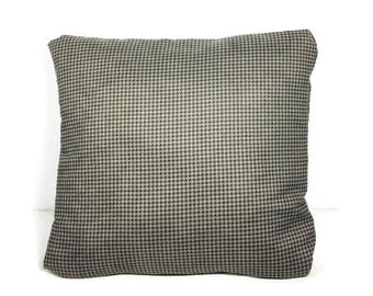 Gray Houndstooth Faux Suede Throw Pillow Vegan Suede Pillow Herringbone Pillow Cover Blue and Gray Pillow Cover Grey and Blue Pillow Covers