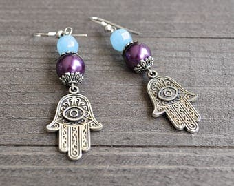 Large Hamsa Hand of God Hand of Fatima or Hamsa Hand Silver Earrings Protection From Evil Eye Palm Earrings Gypsy BoHo Style