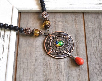 Dragon Eye Necklace Copper Dichroic Glass Medallion God's Eye Pendant Green Jade Beaded Necklace Protection Evil Eye Artisan Piece