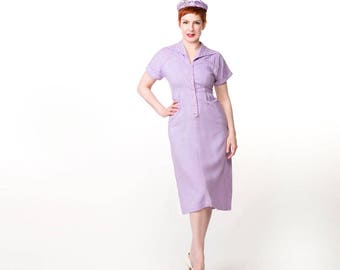 50s Lavender Rayon Dress with Rhinestone Collar by Mode O'Day S M