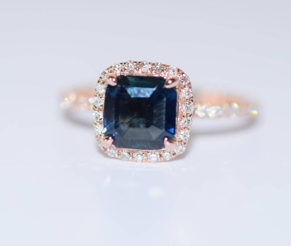 Peacock sapphire engagement ring. 1.5ct square cushion cut blue green sapphire ring diamond ring 14k Rose gold ring by Eidelprecious