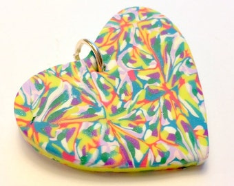 Psychedelic Marbled Handmade Polymer Clay Heart Pendant