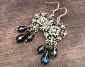 Silver chandelier earrings with Bermuda Blue crystal teardrops