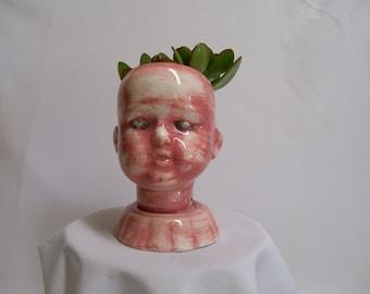 Ceramic Red Doll Head  Planter