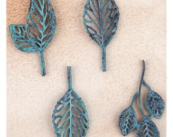 Prima Metal Trinkets -Patina Leaves
