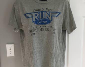Vintage 1988 Ford Motor Company Family Fun Run Hanes t-shirt polycotton