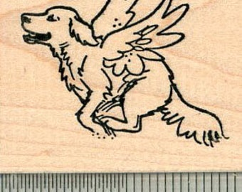 Dog Angel Rubber Stamp, Labrador Retriever, Pet Loss G32612 Wood Mounted