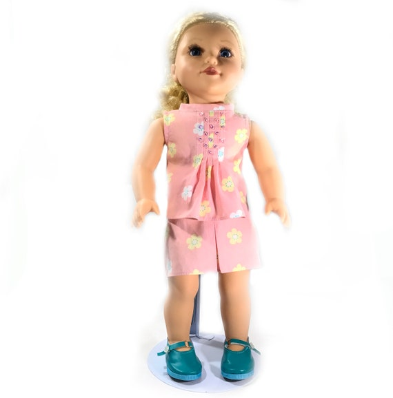 "Two-piece Outfit (Blouse and Skirt) for American Girl and Other 18"" Dolls: Coral Print"