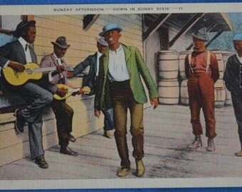 Sunday Afternoon Black Men Dance Play Music Down in Sunny Dixie Unused Linen Postcard