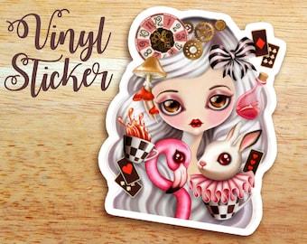Through Her Eyes Die Cut Vinyl Sticker Decal, Alice in Wonderland, White Rabbit, Tea Party