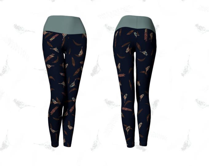 Dark Blue and Green Yoga Leggings with Birds and Leaves Tile Print