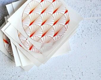 Japanese Circle Print Envelope Seals {10} | Orange Envelope Seals | Gift Seals | Eco-friendly Seals | Paper Lover Gift under 5 | OOAK