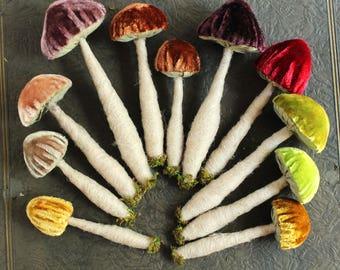 1 {One} Red Silk Velvet Toadstool Ornament - Needle Felted Wool Woodland Mushroom - Fairy House Terrarium Decoration Textile Mushroom
