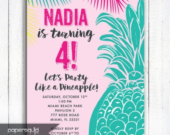 Pineapple Tropical Birthday Party Invitation, Aloha invitation, Pineapple, Personalized Tropical invitation, Digital File,  Item 197