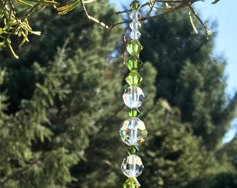 Olive Green Crystal Sun Catcher, Swarovski Car Charm, Rear View Mirror, Window Crystal, Prism Rainbow, Car Ornament, Crystal Suncatcher 8933