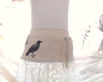 Shabby Rustic Chic Halloween Fall Crow Primitive Tattered and Vintage Lace Vendor Craft Apron