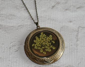 Yellow Flower Locket Necklace, Floral Necklace, Flower Locket Necklace