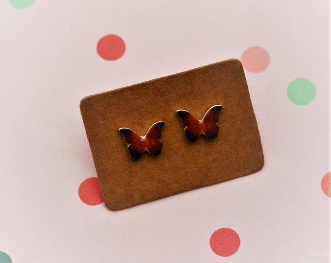 Butterfly Earrings, Teeny Tiny Earrings, Red Butterfly Jewelry, Cute Earrings