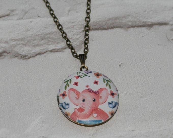 Elephant Locket Necklace, Pink Elephant Necklace