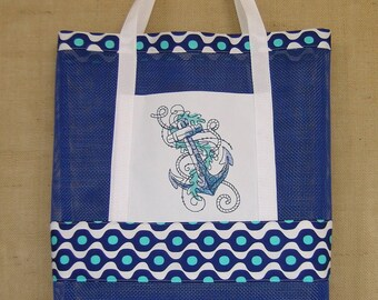 Vinyl Mesh Tote Bag, Tote Bag, Embroidered Anchor Tote Bag, Anchor Tote Bag, Summer Tote Bag