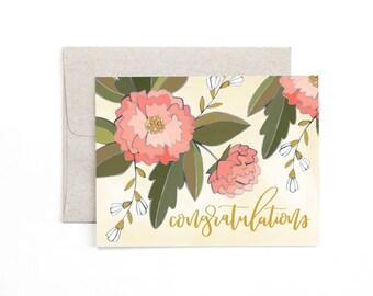 Congratulations Peonies // Illustrated Card // 1canoe2