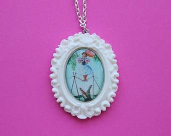 Disney's Haunted Mansion Daisy De La Cruz Cameo Necklace in White Resin Setting