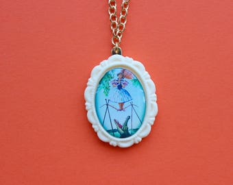 Disney's Haunted Mansion Daisy De La Cruz Cameo Necklace in Ivory Resin Setting