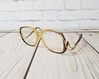 Vintage Brown Gold 1980s Frames Retro Eyeglasses Eyewear