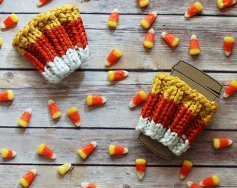 Candy Corn Travel Coffee Cozy + Ready To Ship + Limited Edition