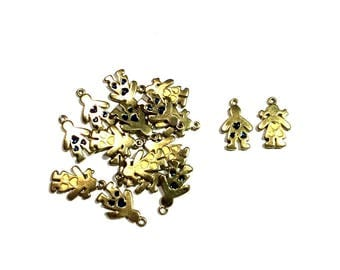 pair of boy and girl charms, 14mm x 22mm, antique gold metal alloy with enamel - C108