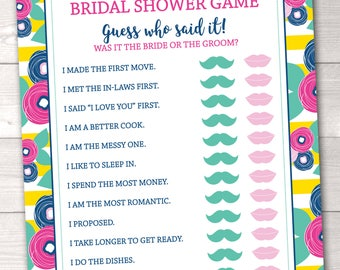 He Said She Said Bridal Shower Game Printable Guess Who Said It Shower Game Instant Download PDF in Yellow Stripes and Flowers