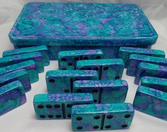 JUMBO Dominoes 'Charlotte Hornets' - Hand Painted 28 Piece Double Six Domino Set in Matching Metal Storage Tin, Alcohol Inks, Turquoise