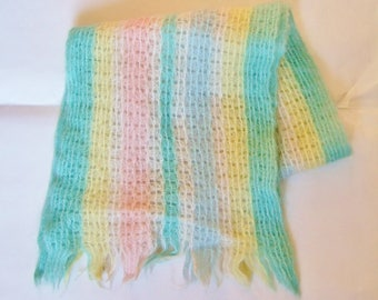 Vintage Mohair Scarf - Pastel Rainbow Striped Short Scarf - Soft Pretty Colours